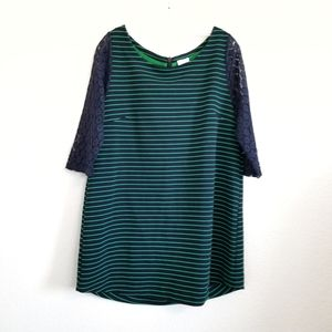 NWT Anthropologie Green Navy Stripe Laced Dress